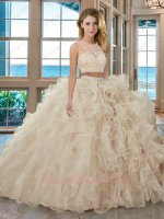 See-Through Mesh Scoop Two Pieces Separated Suit Champagne Ball Gown For Quinceanera