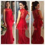 Falbala Waist Red Lace & Spandex Sheath Party Dress Women Age Over 30