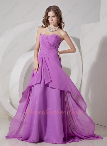 Deep Lilac/Mauve Chiffon Sweep Train Formal Girls Simple Full Prom Dress Pretty