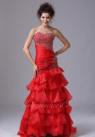 Top Seller Oblique Wasitline/Ruching Red Many Layers Trumpet Annual Evening Formal