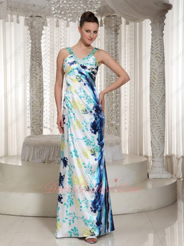 Imitated Silk Colorful Unique Florets Printed Column Prom Dresses Straps V Neck