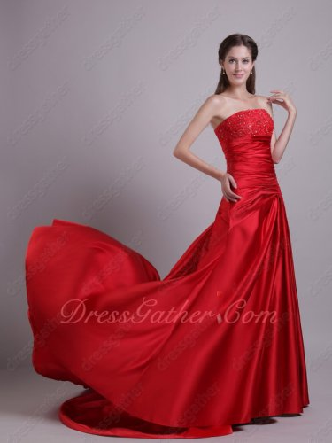 Joyous Red Thick Satin Wedding Ceremony Bridal Embroidery Evening Gowns Fishtail
