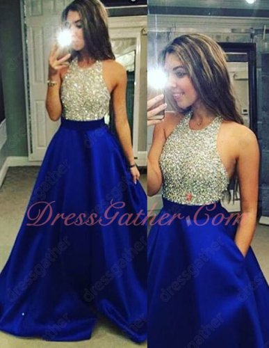 Stylish Halter Empire Waist Royal Blue Pocket Banquet Dress Fully Beading