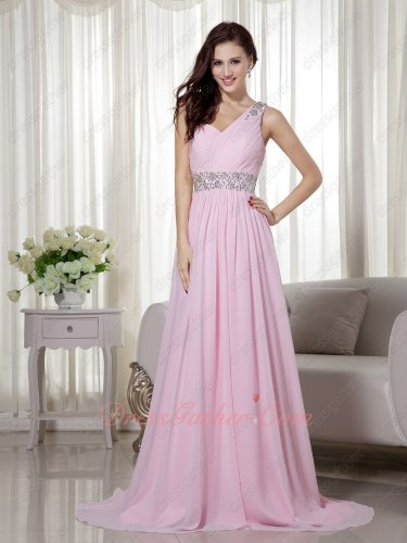 One Shoulder Sweetheart Baby Pink Lovely Maiden Formal Prom Dance Dress Sweep Train