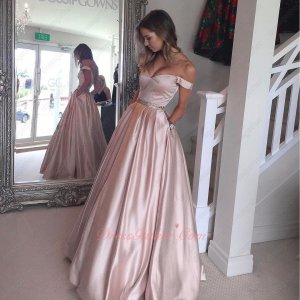 The Very Prom Dress Off Shoulder Cameo Brown Pink Sun Skirt With Side Pockets