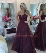 Alluring Complexion Lucid Scoop Neck Burgundy A-line Mature Lady Party Dress