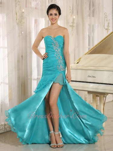 Turquoise Layers Skirt Latin Dance Cocktail Evening Gown Left Thigh Slit Opening