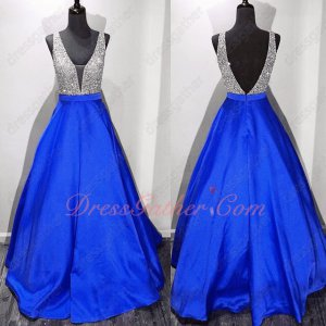 Particular Silver Upper Bodice Matching Royal Blue A-line Skirt Pub Gown