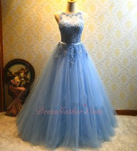 Sweetheart With Scoop See-Through Neck Appliques Embellish Sexy Back Prom Dress