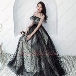 Flounced Off The Shoulder Black Spot Fabric Long Gown With Champagne Lining