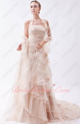 Halter Lightest Pink Organza Overlay Cascade Layers Skirt Formal Dress With Shawl