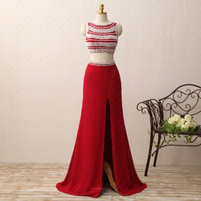 Elegant Fully Pearl Decorated Expose Waist Red Private Party Gowns Amazon