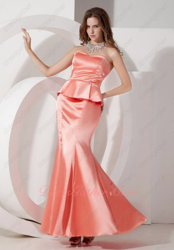 Pale/Light Watermelon Mermaid Package Hips Waist Falbala Ankle-length Prom Dresses