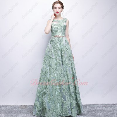Mint Green Aegea A-line Floor Length 3D Lace Fashion Icon Vestido de Prom Gowns