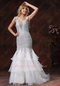 Twinkling Diamond Lace Layers Mermaid White Formal Evening Prom Dress Princess