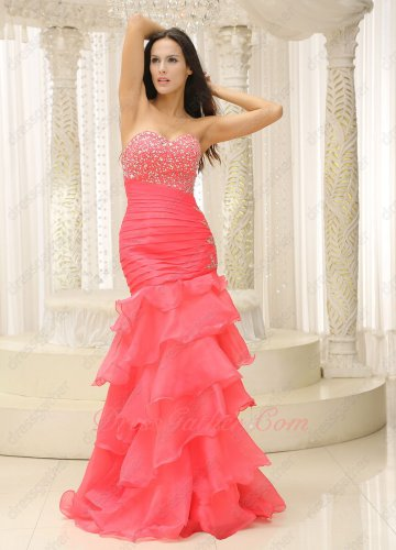 Sheathy Watermelon Coral Organza Mermaid Layers 2020 Evening Prom Dress Silver Beading