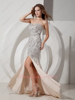 High-end Champagne Mermaid Slit Formal Prom Dress Full Swarovski Diamond Luxurious