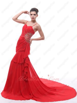 New Arrival Spaghetti Straps Beaded Red Chiffon Bride Formal Gowns Cathedral Train