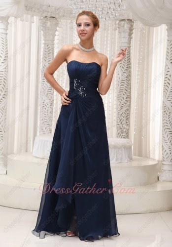 Demure Navy Blue Chiffon Custom Fit Women Wear Formal Evening Dress