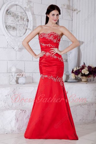 Silver Embroidery China Red Taffeta Juniors Evening Gowns Trumpet Package Hips