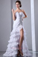 Party Queen Curly Ruffle Mermaid Layers White Chiffon Evening Gowns High Split