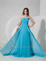 Empire Waist Middle Slit Court Train Azure Sky Blue Celebrity Prom Event Attire