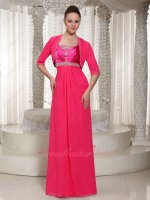Spaghetti Straps Hot Pink Empire Formal Prom Dress Winter With Short Sleeve Jacket