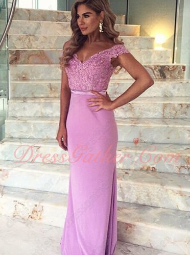 Featured Off Shoulder Sheath Lilac Prom Dress With Triangular Lace Train