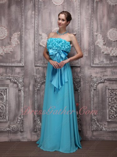 Ruffles Falbala Decorate Strapless Blouse Aqua Formal Prom Gowns Bowknot Ribbon