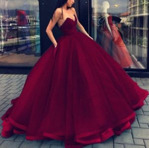 Sweetheart Voluminous Pleats Piping Binding Hemline Burgundy Quinceanera Dress Gorgeous