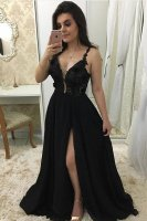 Floral Double Straps High Slit Skirt Evening Night Party Dress With Applique