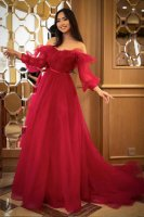 Off Shoulder Flouncing Neck Long Bubble Sleeves Cherry Red Prom Evening Dress