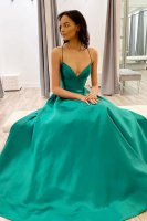Spaghetti Straps Plain and Quiet Turquoise Satin Formal Party Dress Simple