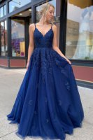 V Neckline Floor Length Soft Tulle Royal Blue Evening Gown Applique