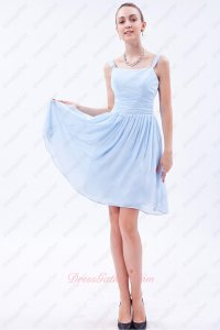 Square Neck Dual Straps Baby Blue Chiffon Short Bridesmaid Dress Young Lady