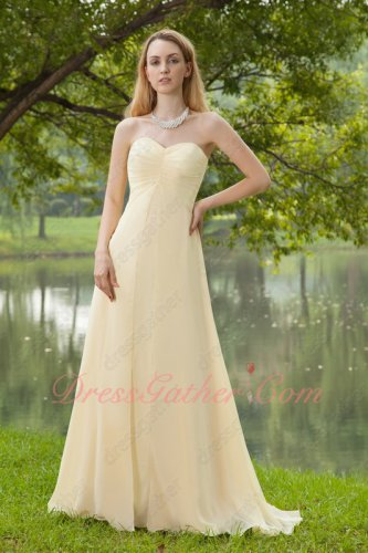 Modest Light Yellow Chiffon Bridesmaid Dress Sweetheart Floor Length