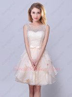 Champagne Elegant Scoop Knee Ruffles Length Dama Dress Homecoming Dress