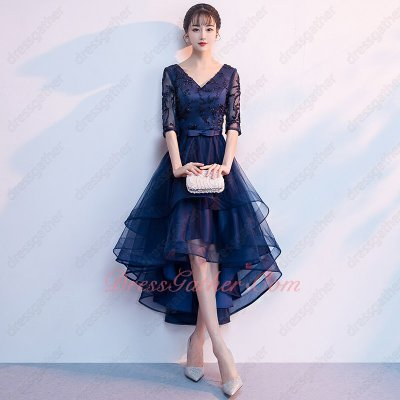 V-neck Half Transparent Sleeves Navy Lace High Low Holiday Dress Customized