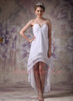 Terse V-Shaped Strapless Empire High-low White Chiffon Layers Compere Prom Dress