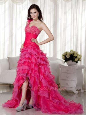 Beaded One Shoulder High-low Skirt Hot Pink Layers Banquet Prom Dress