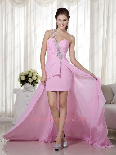 Top Selling Single Strap Beading High-low Design Pink Runway Prom Dress