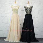 Scoop Neck Sheer Full Beading Bodice Chiffon Floor Length Evening Gowns Queen Pretty