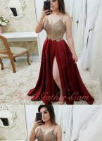 Spaghetti Straps Nude Beading Bodice Wine Red Satin Slit Skirt Evening Dress Queen