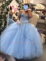 Spaghetti Straps Slit Overlay Tulle Bead Edging Baby Blue Tulle Quinceanera Ball Gown