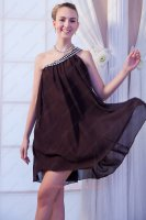 One Shoulder Chocolate/Brown Chiffon Empire Cover Belly Little Prom Dress Crystals