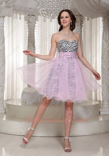 Flattering Baby Pink Gauzy Organza Zebra Lining Short Homecoming Dress Fashionable