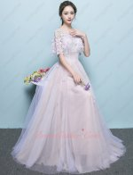 Fresh Girls Scoop Lace Bodice Flowing Elegant Formal Gowns Lavender Tulle Blush Inside