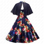 Lovely Rose Flowers Printed Navy Plump Girl Cocktail Dancing Prom Dress With Colark