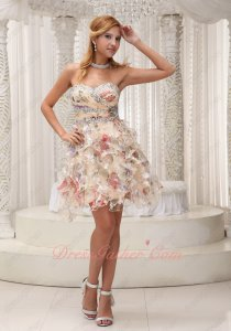 Fancy Sweetheart Print Chiffon Ruffles Dancing Cocktail Party Short Prom Dress Summer