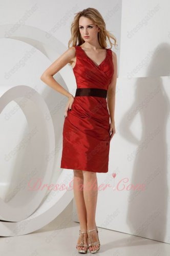 Slim V-Neck Wine Red Taffeta Formal Party Company Gathering Dress Package